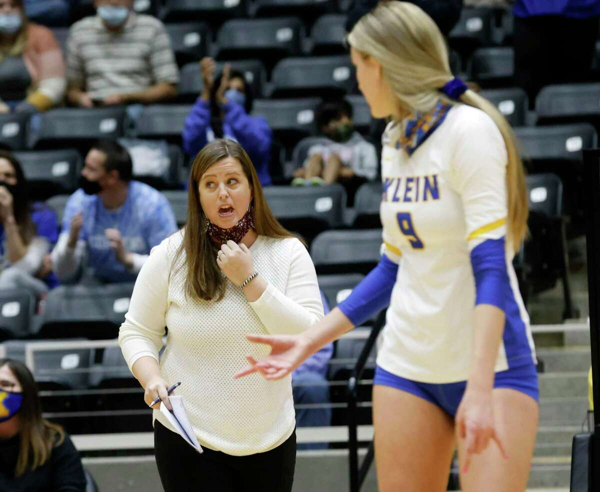 Klein head coach directs her team, including Kierstyn McFall (9) as they played Seven Lakes during the Conference 6A State High School volleyball championship in Garland, Texas on Dec. 12, 2020.