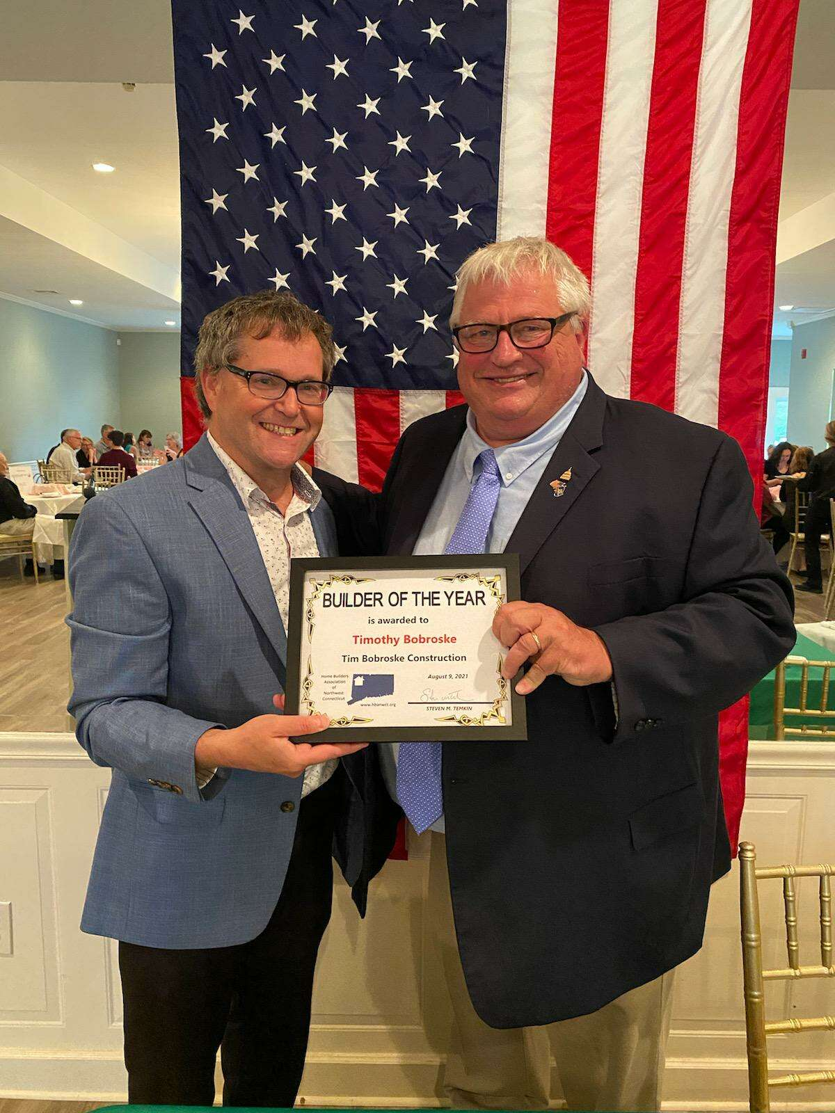 The Home Builder Association of Northwest CT joined the Litchfield County Chapter of the Greater Hartford Association of Realtors to honor Builder of the YearTimothy Bobroske of Tim Bobroske Construction, right, pictured with Steve Temkin.