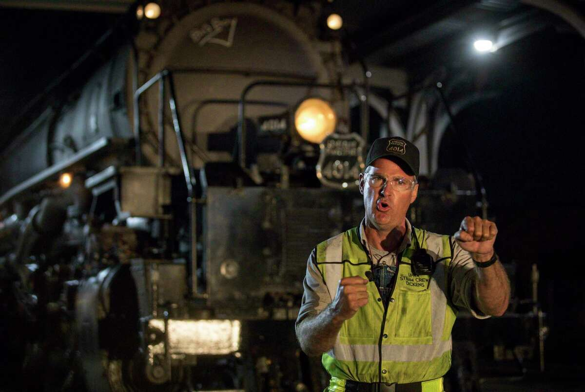 Ed Dickens, the locomotive engineer for Union Pacific engine 4014, aka the Big Boy, explains the process of driving the locomotive on Nov. 6, 2019, in Houston.