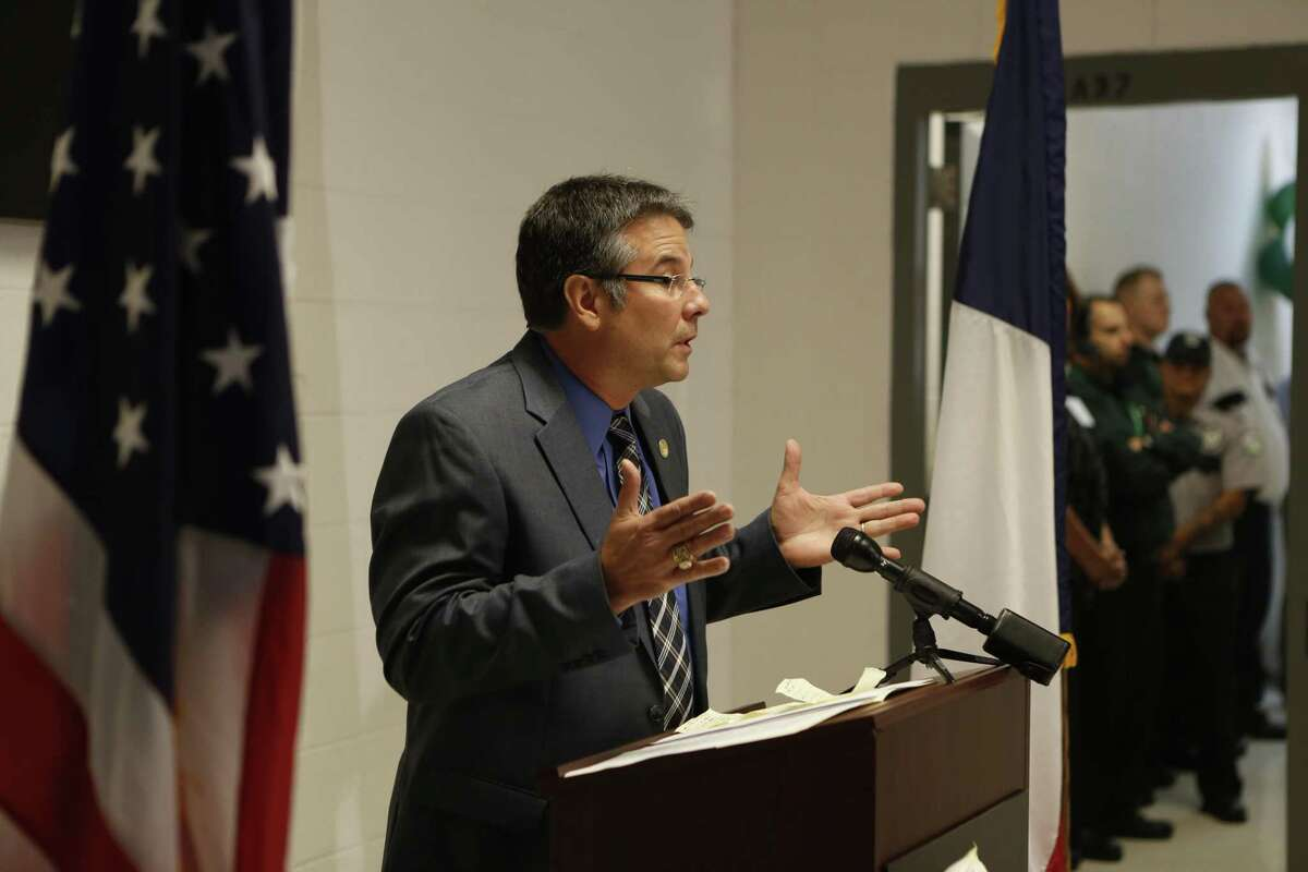Senator Charles Perry addresses the crowd at a ribbon cutting ceremony at the state's new home for sex predators, Billy Clayton Center, Thursday, Sept. 24, 2015, in Littlefield, Texas.