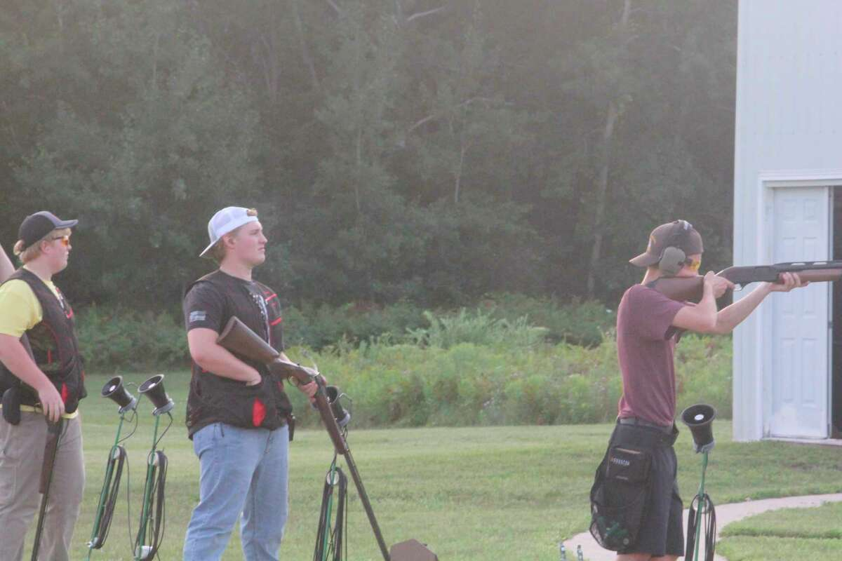 Reed City and Chippewa Hills target shooters compete in a nonscoring match on Thursday at the Reed City Sportsman Club. (Pioneer photo/John Raffel)