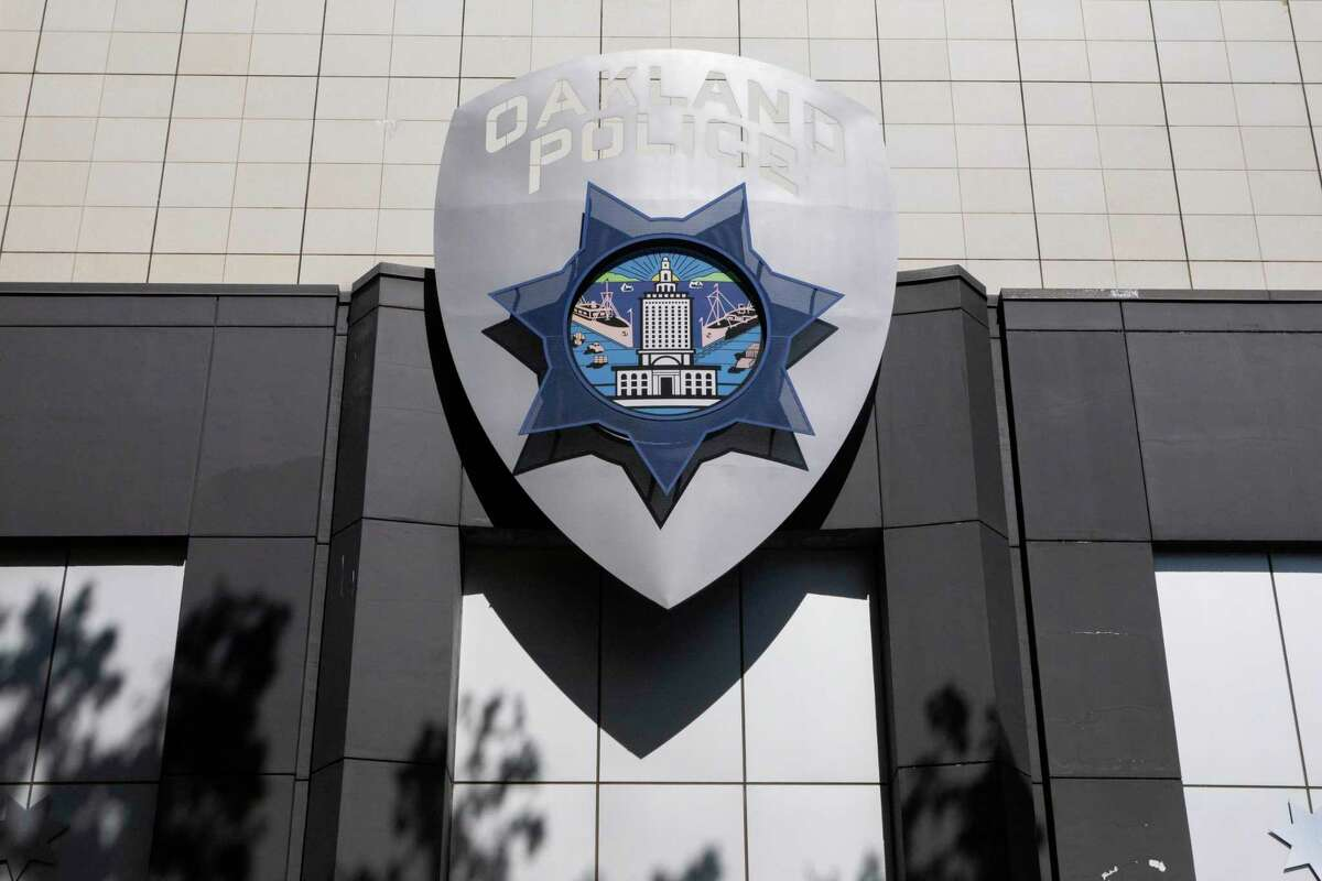 This file photograph shows the Oakland Police Department headquarters in downtown Oakland, Calif. as seen on Monday, May 24, 2021.