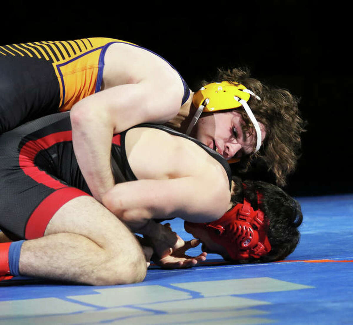 CM senior Vinny Zerban (top) works over Deerfield's Ben Shvartsman in the 152-pound title match at the IWCOA Class 2A state meet on June 25 in Springfield. Zerban won by fall in 48 seconds to finish the season 28-0.