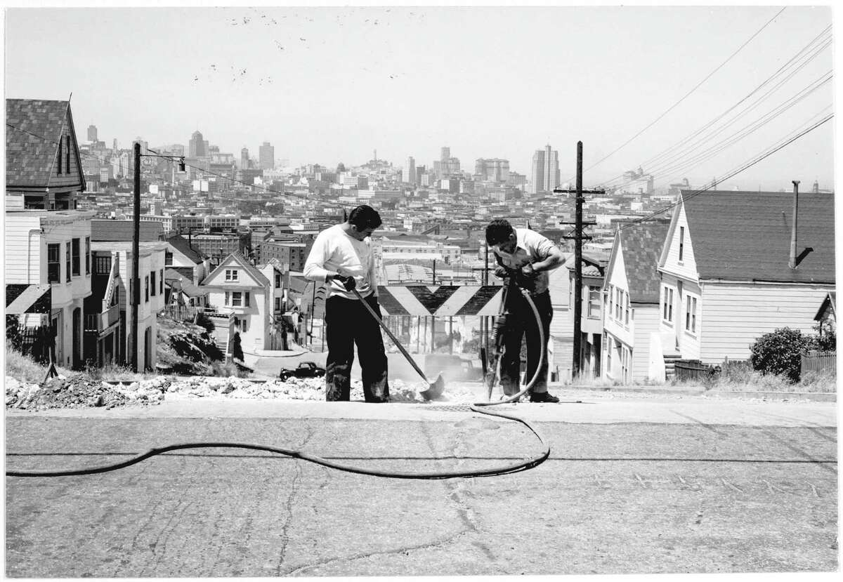 """Minor White's """"Street repairs, Potrero Hill, San Francisco, 1949,"""" is among the images in an exhibition of White's photographs on display through January of 2022 at the California Historical Society."""