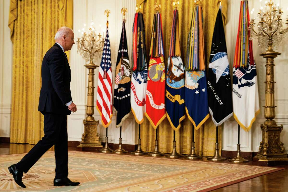 President Biden leaves the East Room after delivering remarks on the Afghanistan drawdown on July 8. 2021.