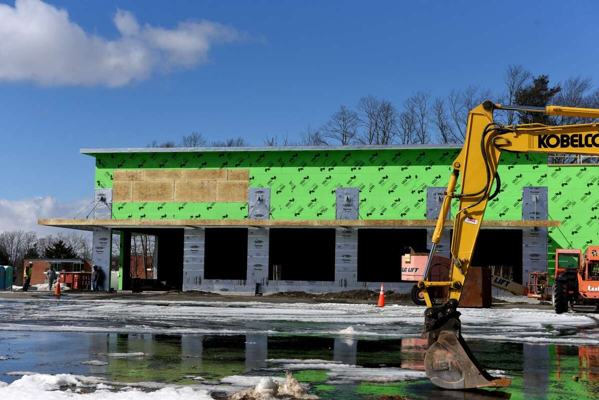 Construction of a new Trader Joe's store at Halfmoon Crossing is taking place on Thursday, Feb. 25, 2021, off Route 9 near Route 146 in Halfmoon, N.Y. (Will Waldron/Times Union)