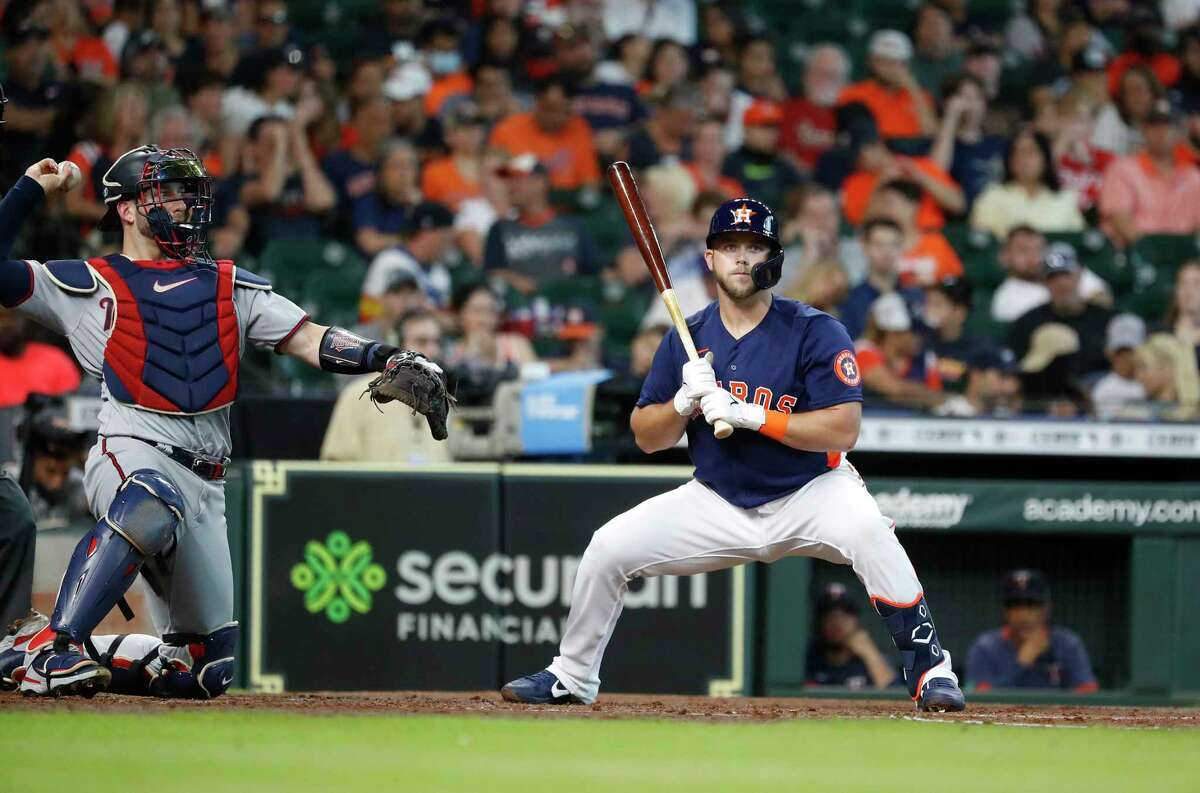 Houston Astros third baseman Jacob Wilson (13) at bat during the second inning of an MLB baseball game at Minute Maid Park, Sunday, August 8, 2021, in Houston.