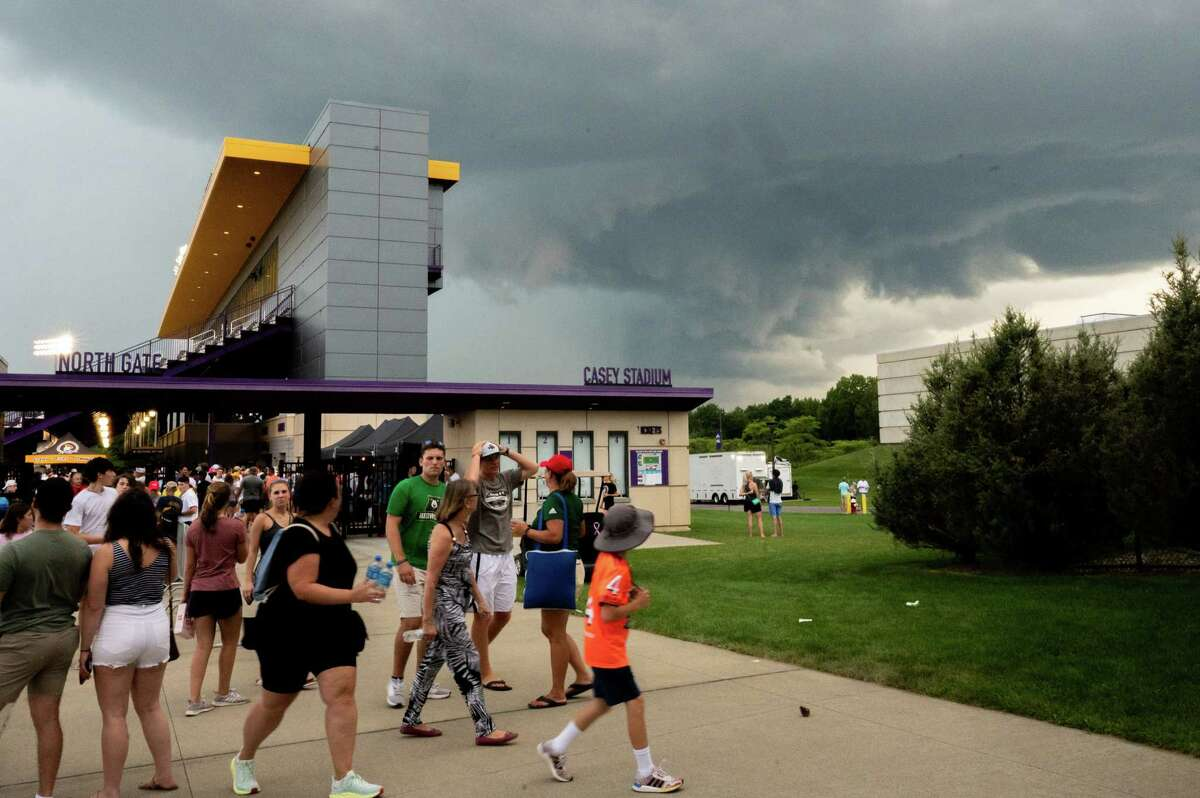 Fans of the Premier Lacrosse League watch a thundercloud move in at the Tom and Mary Casey Stadium on the UAlbany campus in Albany, NY, minutes before a severe thunderstorm ripped through the Capital District delaying both games on Friday, Aug. 13, 2021 (Jim Franco/Special to the Times Union)