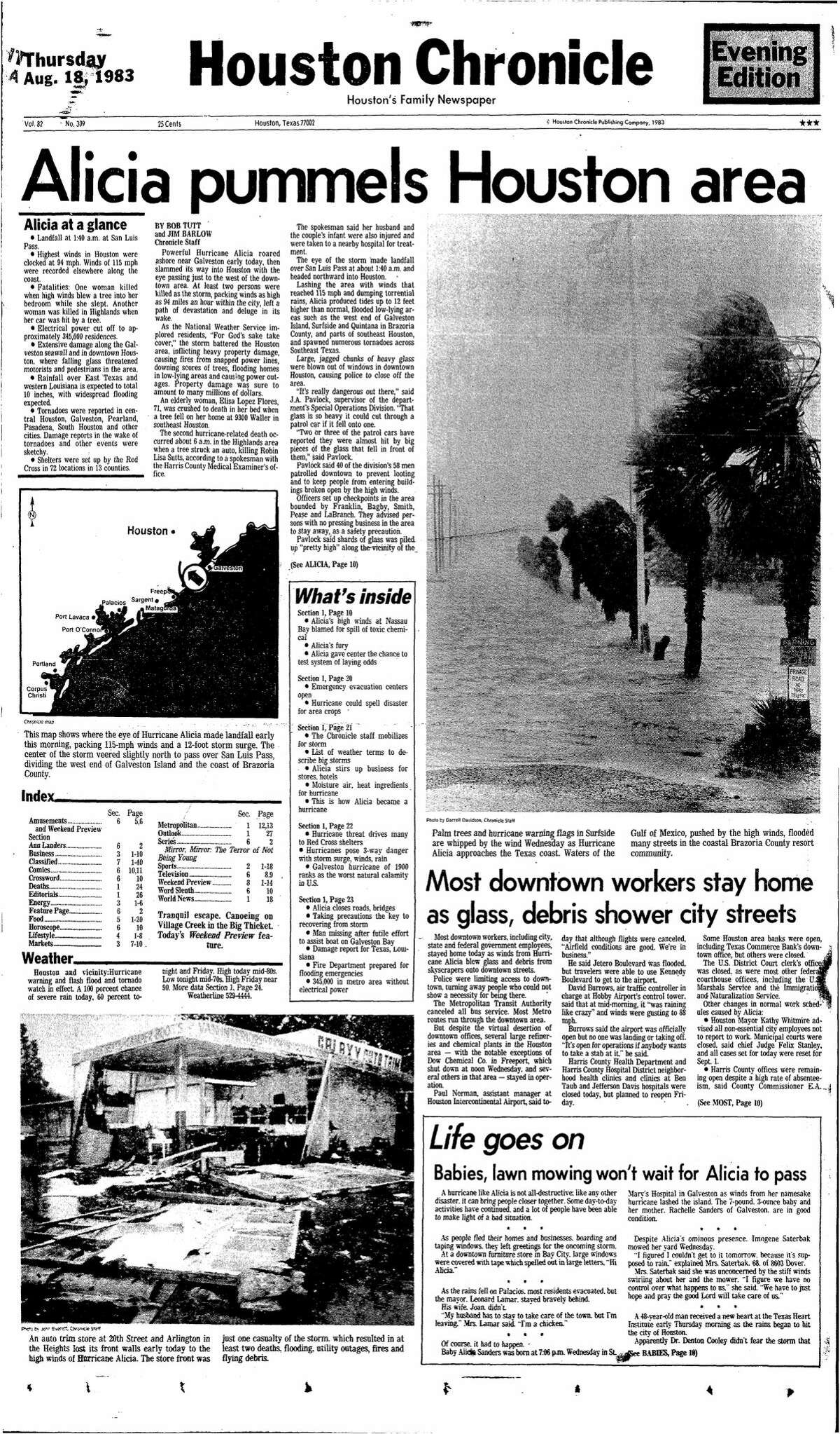 Houston Chronicle front page from Aug. 18, 1983.