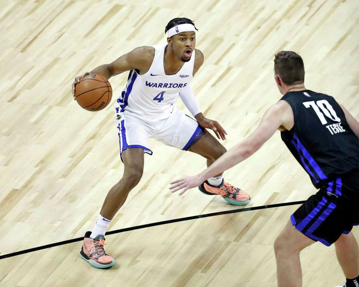 Moses Moody, shown against the Orlando Magic on Monday during a Summer League game in Las Vegas, led the Warriors with 22 points in Friday's 94-84 Warrriors win over the Oklahoma City Thunder.