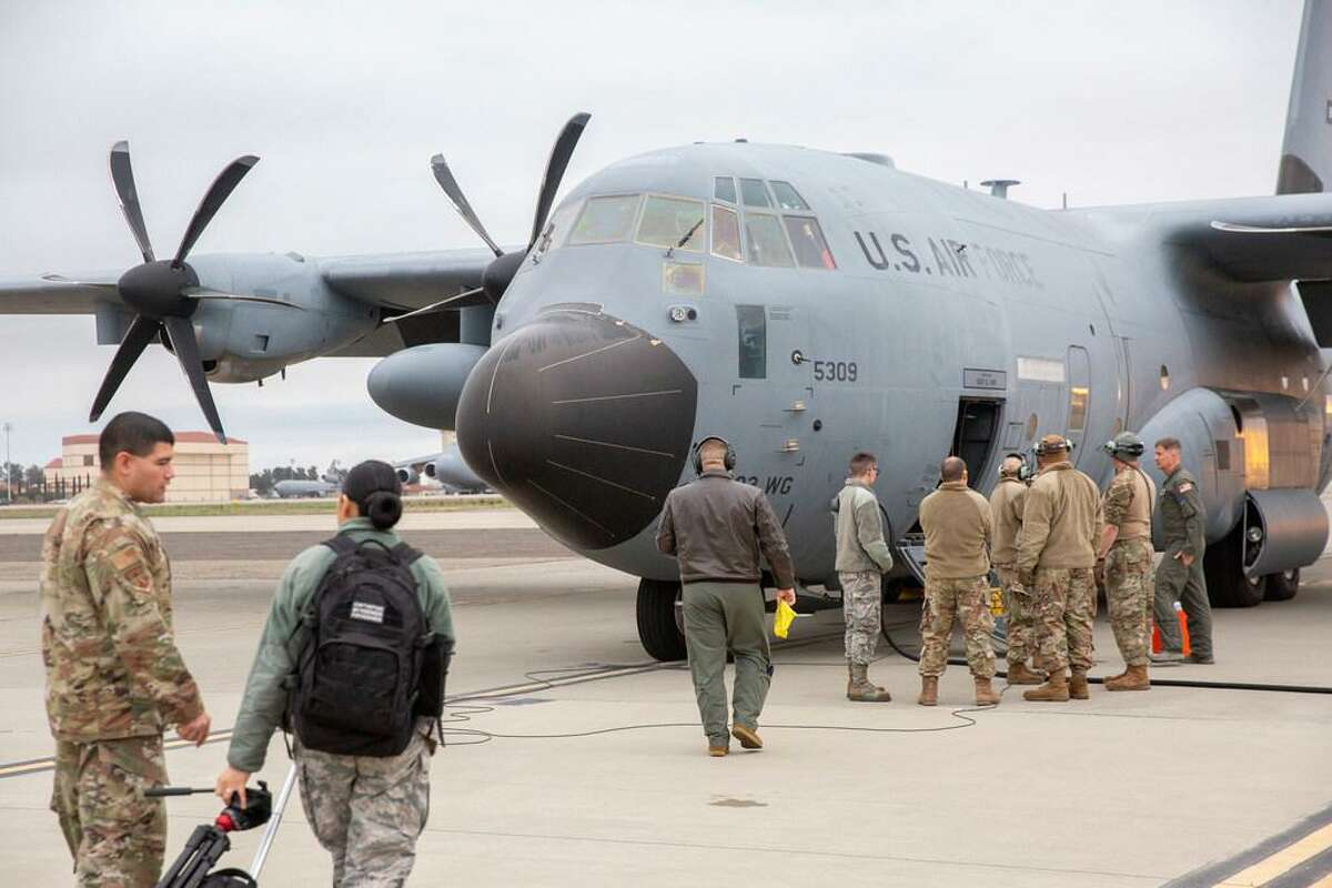 The 53rd Weather Reconnaissance Squadron, a military flying unit of the U.S. Air Force, prepares at Travis Air Force Base for a mission with the National Oceanic and Atmospheric Administration to research and collect data on the Pacific Ocean in January 2020.