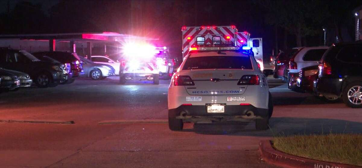 Authorities investigating a triple shooting at an apartment complex in north Harris County.