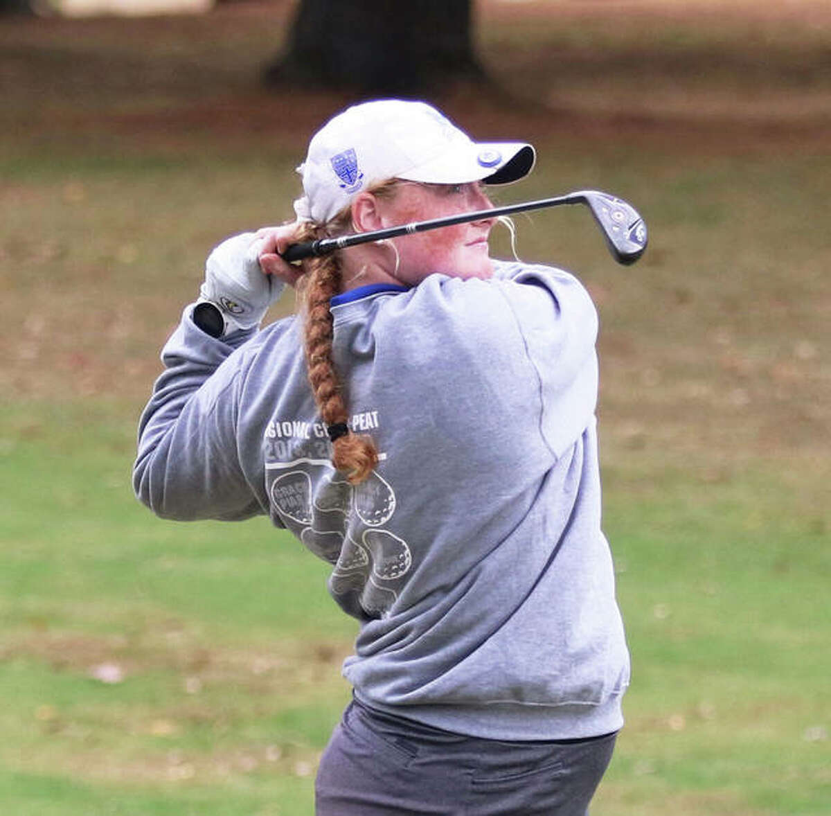 Marquette's Gracie Piar, shown in last season's sectional at Salem, shot 1-under par 71 to place third Friday at the Prep Tour Showcase at Hickory Point golf course in Decatur.