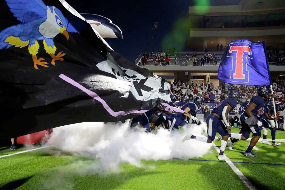 Tompkins players takes the field before the start of a high school football game against Katy at Legacy Stadium Thursday, Nov. 5, 2020 in Katy, TX.