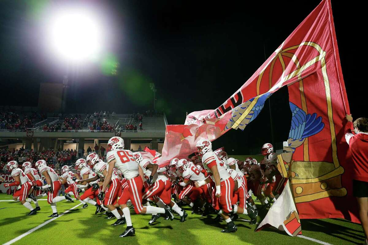 Katy players takes the field before the start of a high school football game against Tompkins at Legacy Stadium Thursday, Nov. 5, 2020 in Katy, TX.