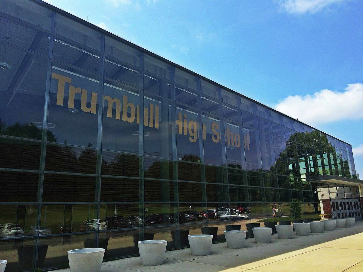 The outside of Trumbull High School. Trumbull Public Schools superintendent reminded staff, students and parents Friday that masks will be required through Sept. 30 regardless of vaccination status.