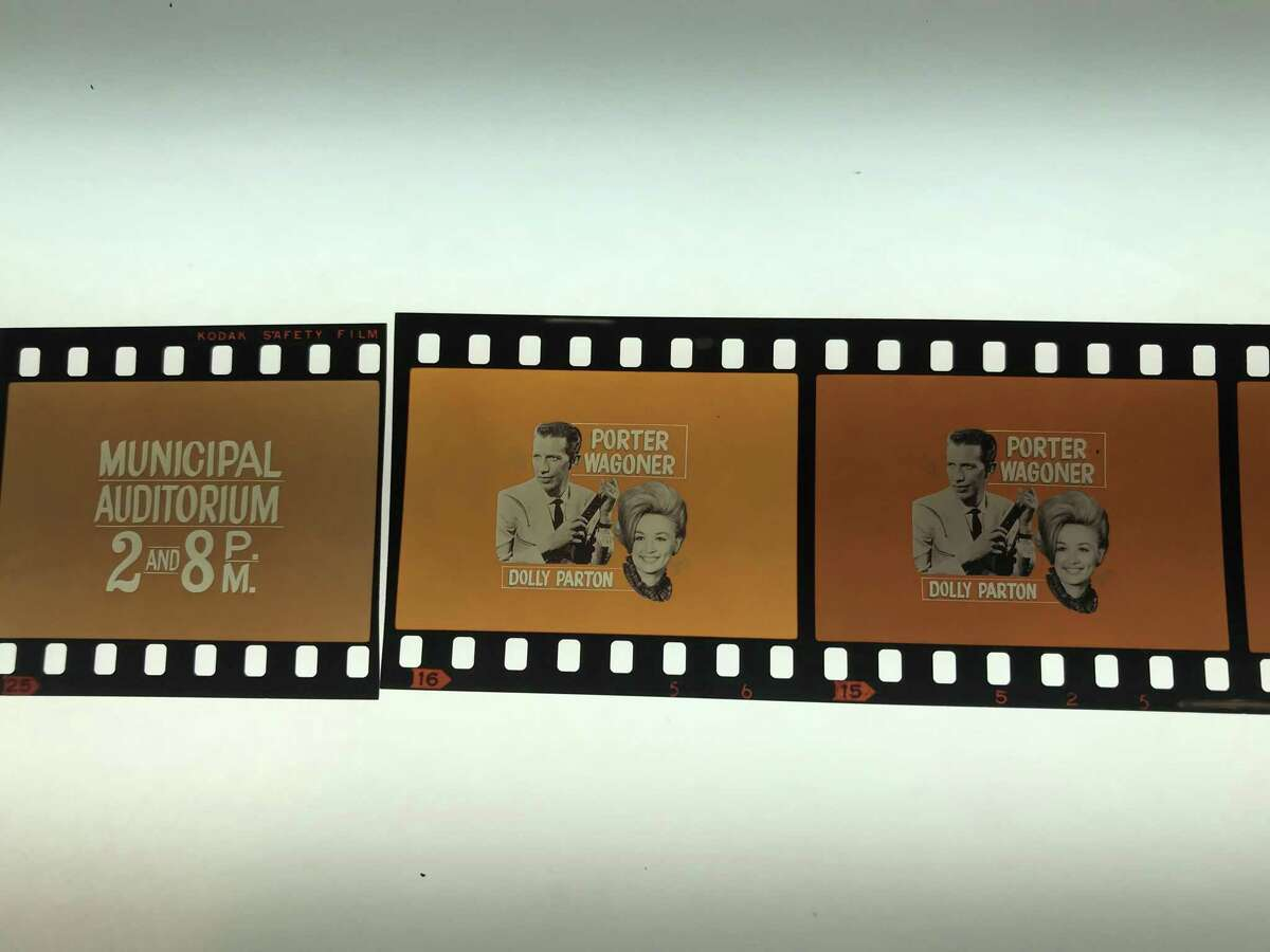 Famous country singers including Dolly Parton and Porter Wagoner appeared in 1968 at San Antonio's Municipal Auditorium, promoted on local TV with these Zintgraff Studio images