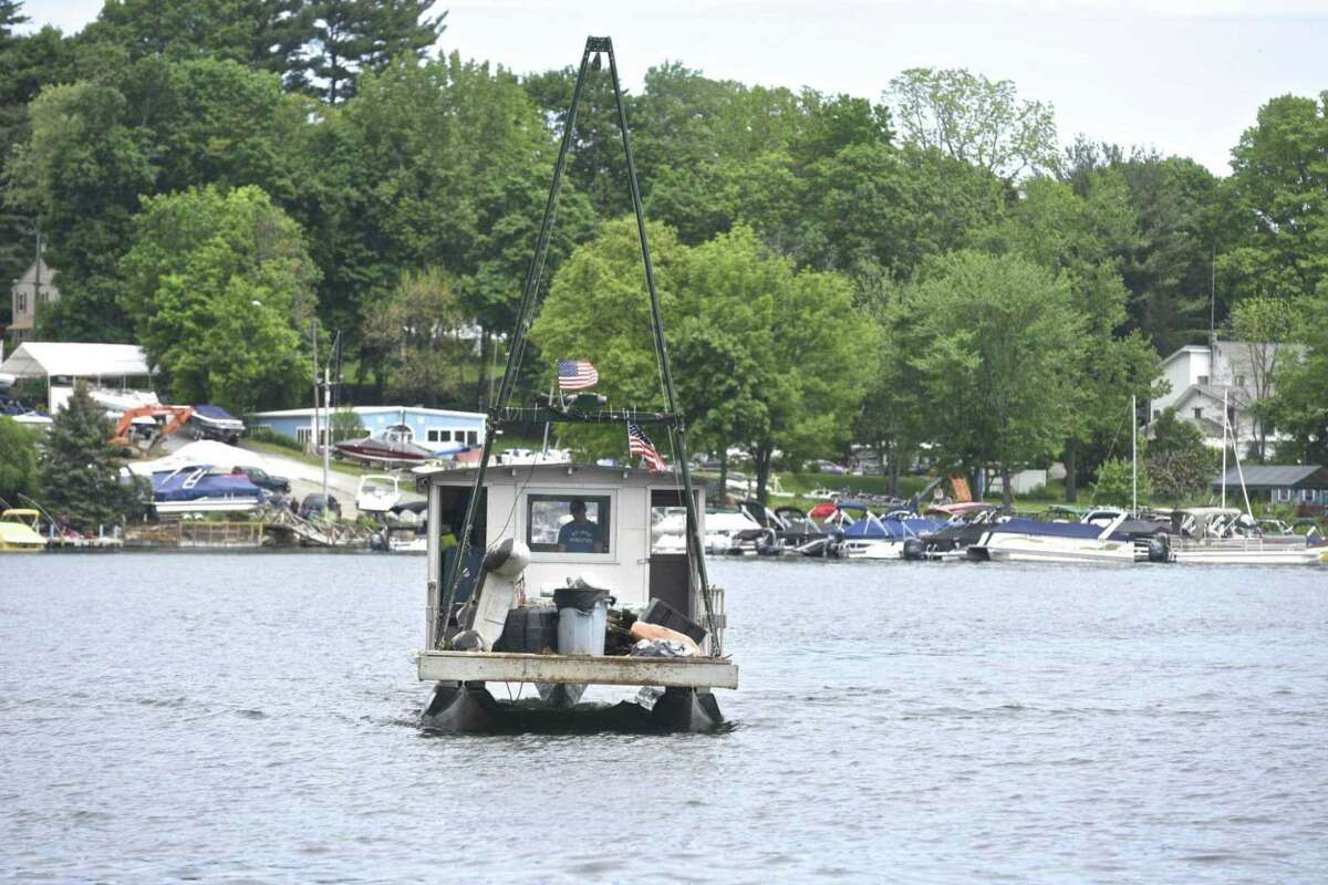 A Candlewood Lake Authority boat in the New Fairfield Town Park.