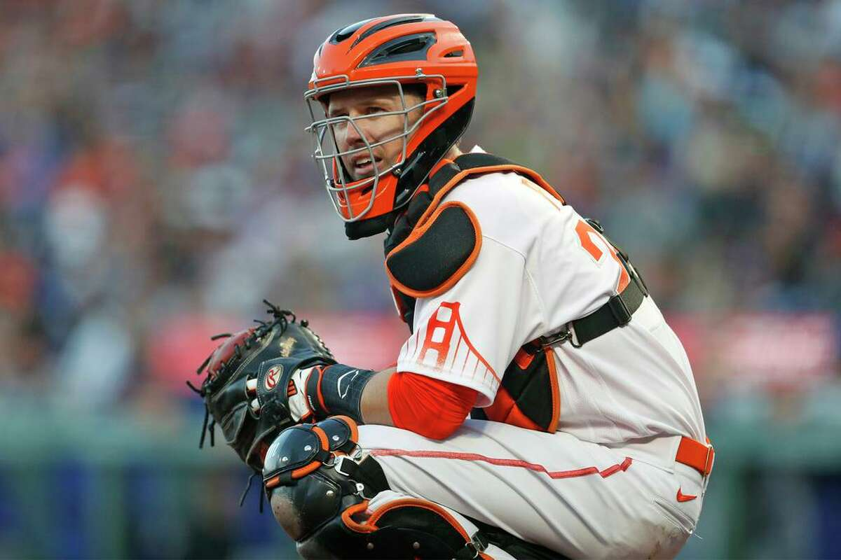 San Francisco Giants' Buster Posey against Los Angeles Dodgers in MLB game at Oracle Park in San Francisco, Calif., on Tuesday, July 27, 2021.