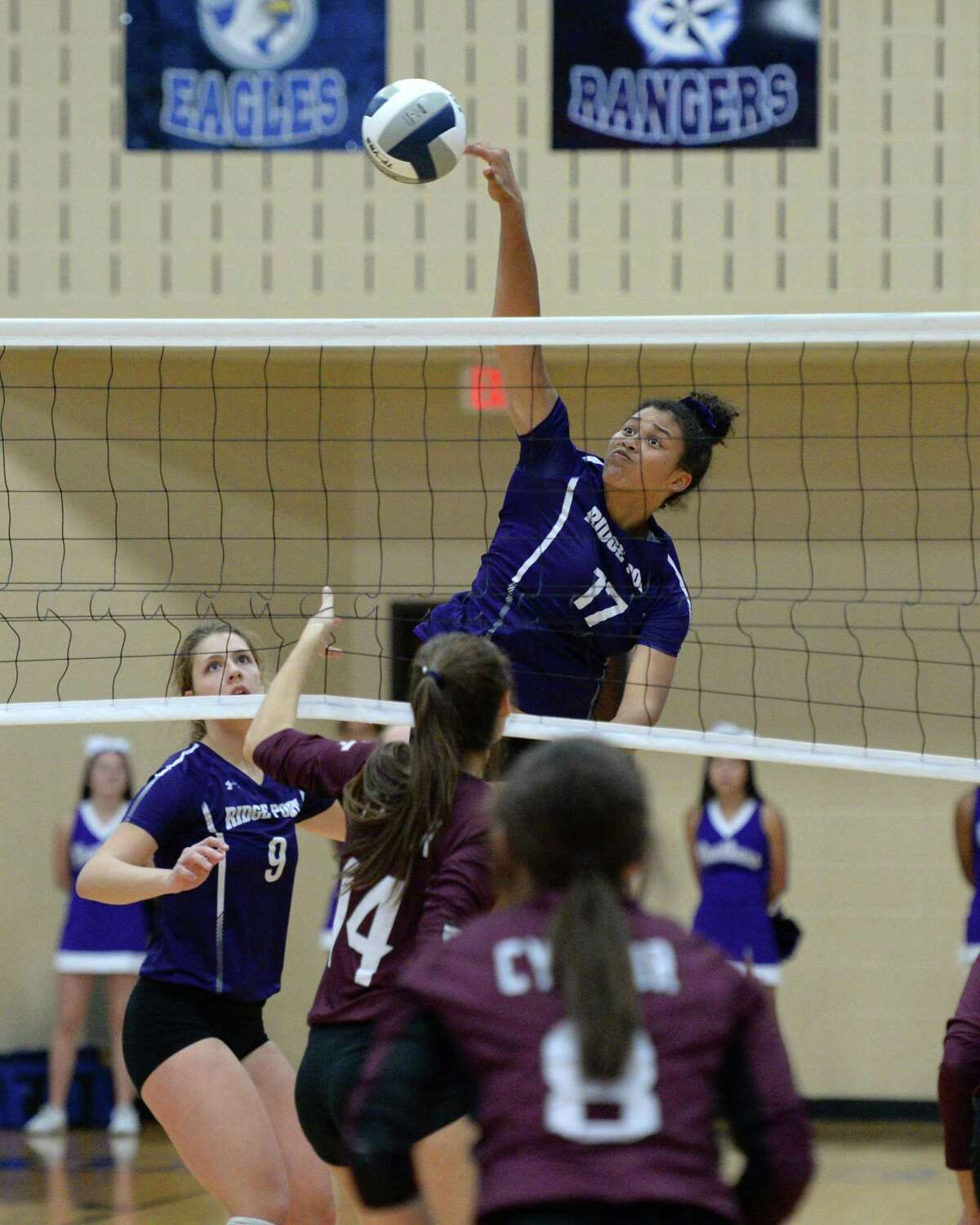 Alexis Roberson (17) of Ridge Point attempts a kill shot during the second set of the Region III-6A Final volleyball match between the Ridge Point Panthers and the Cy-Fair Bobcats on Saturday, November 16, 2019 at Wheeler Fieldhouse, Sugar Land, TX.
