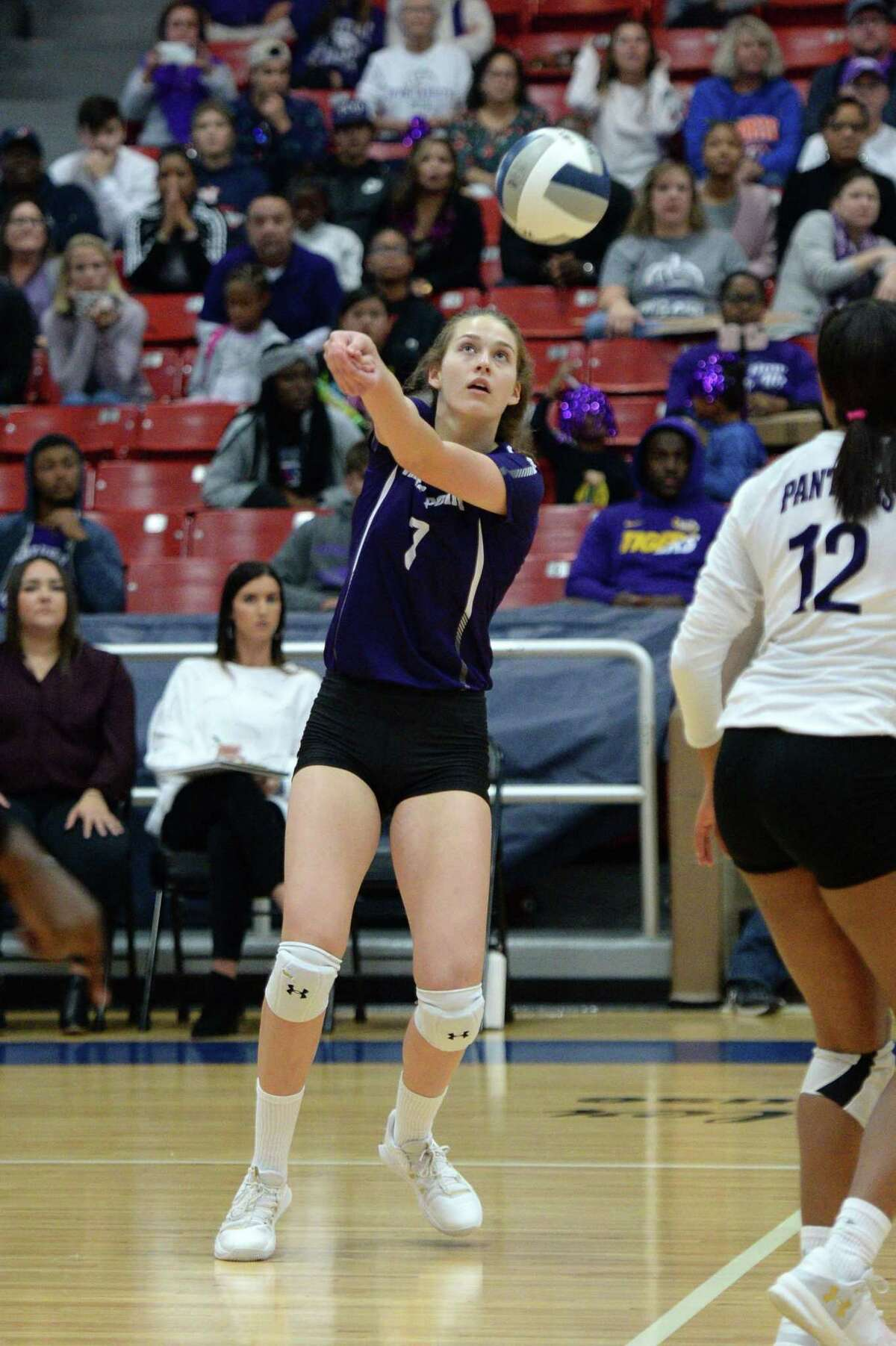 Sydney Jordan (7) of Ridge Point digs for a ball during the first set of the Region III-6A Final volleyball match between the Ridge Point Panthers and the Cy-Fair Bobcats on Saturday, November 16, 2019 at Wheeler Fieldhouse, Sugar Land, TX.