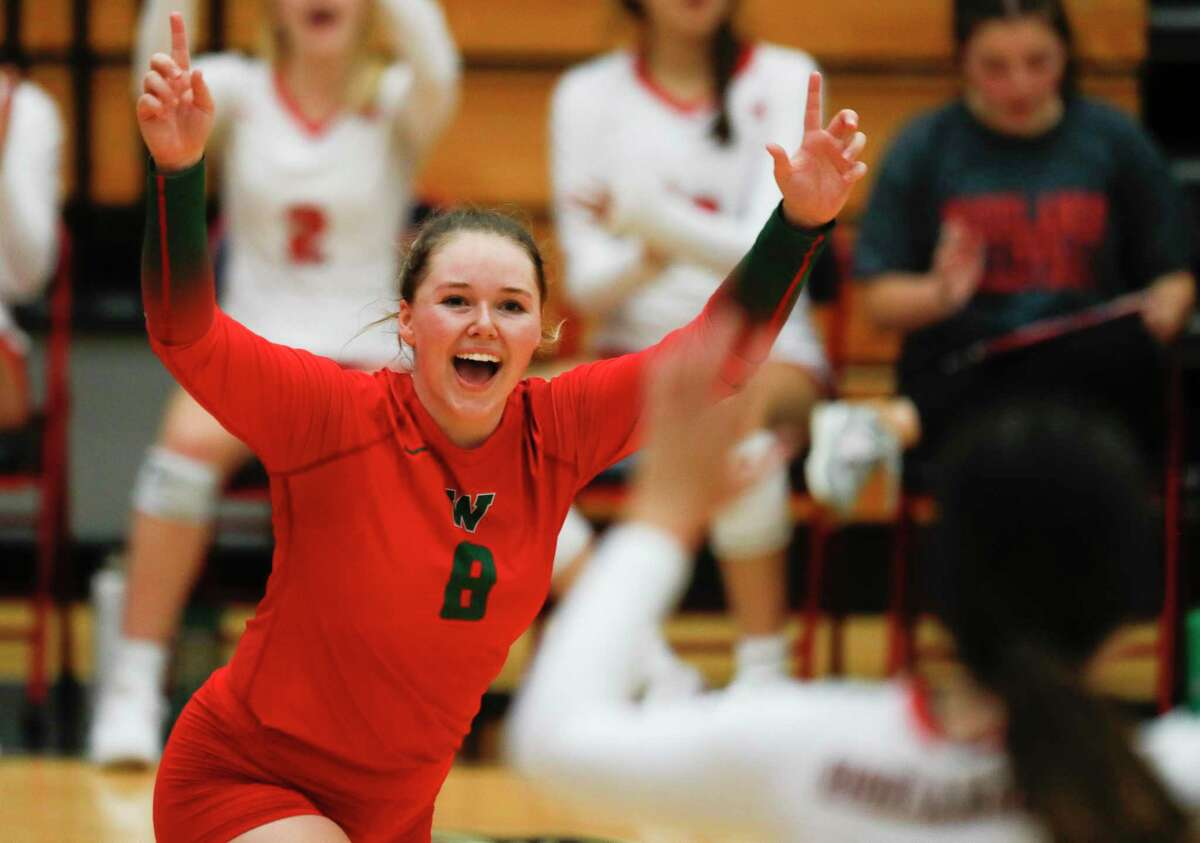 The Woodlands libero Cassidy MacLean (8) reacts after a point during the championship match of the John Turner Classic against Fort Bend Ridge Point at Pearland Dawson High School, Saturday, Aug. 14, 2021, in Pearland.