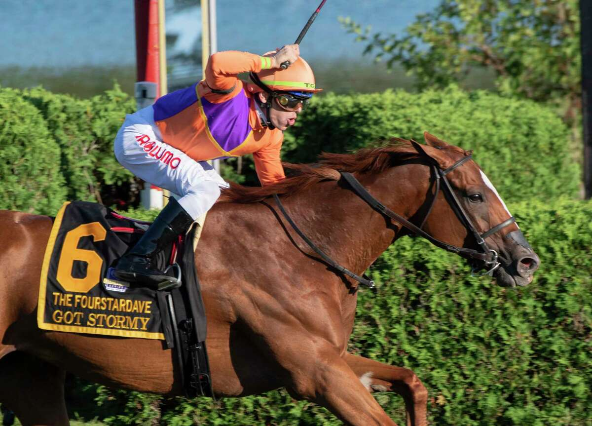 Got Stormy, with jockey Tyler Gaffalione, wins the 37th running of the Fourstardave at Saratoga Race Course on Saturday, Aug. 14, 2021, in Saratoga Springs, N.Y.