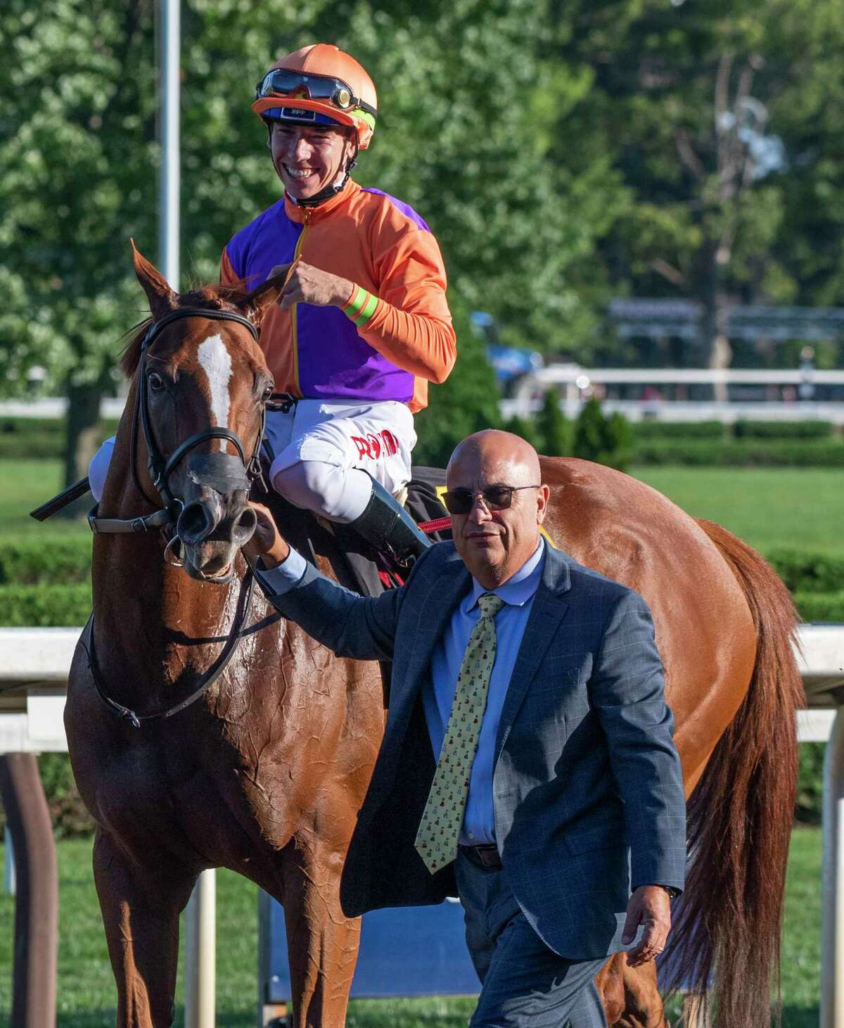 Got Stormy, with jockey Tyler Gaffalione, is led to the winner's circle after winning the 37th running of the Fourstardave at Saratoga Race Course on Saturday, Aug. 14, 2021, in Saratoga Springs, N.Y.
