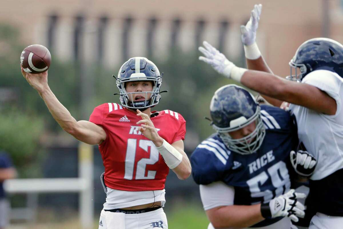 Luke McCaffrey (12) arrived at Rice this summer after playing at Nebraska and briefly transferring to Louisville. He's in competition with incumbent Wiley Green for the Owls' starting quarterback spot.