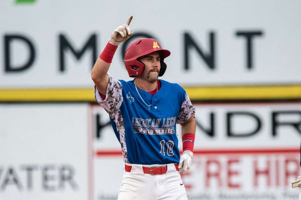 Berryhill's Al Money celebrates after driving in a run during Saturday's American Legion Baseball World Series pool play game against Beverly, Mass. in Shelby, N.C., Aug. 14, 2021.