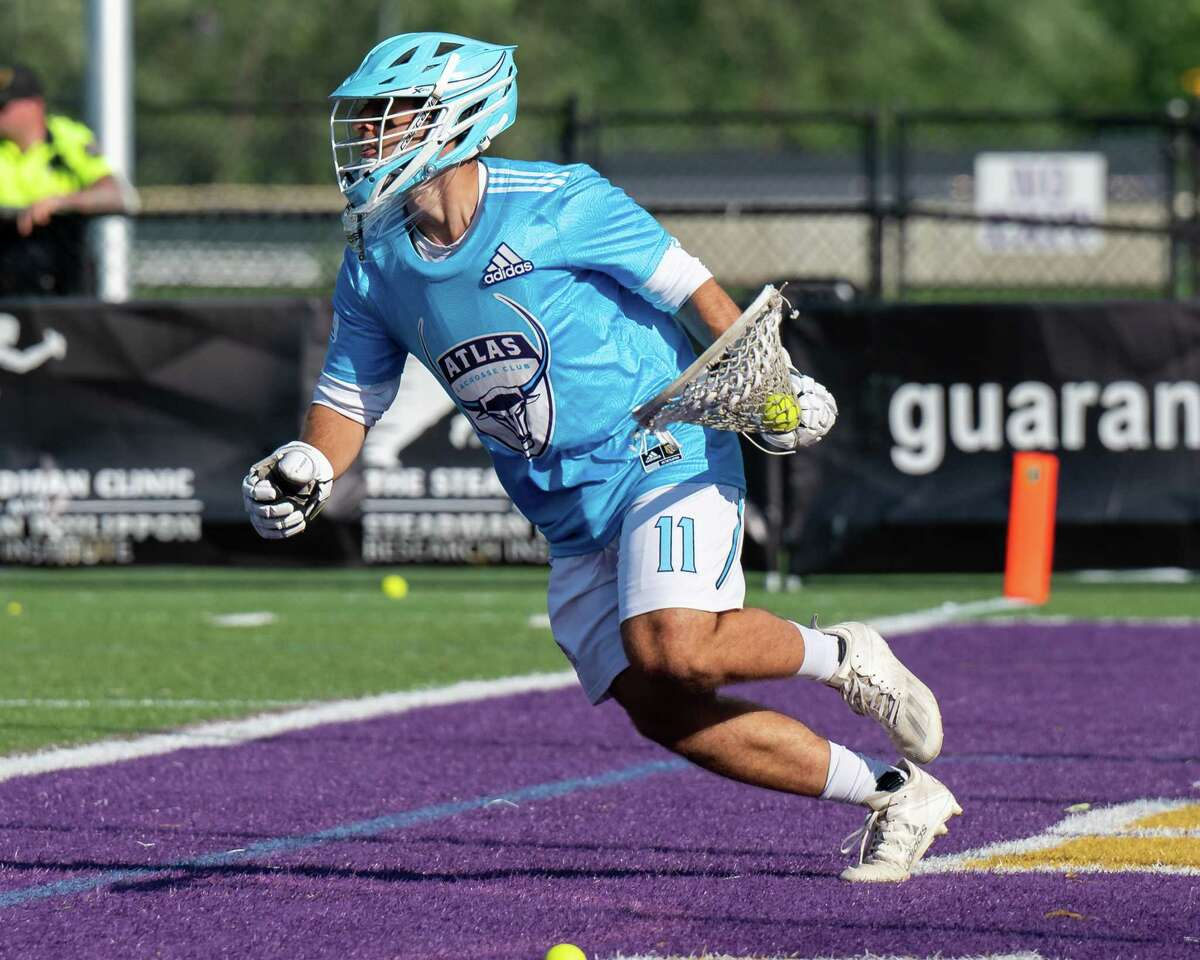 The Atlas goalie JD Colarusso during a Premiere Lacrosse League game against the Waterdogs at the UAlbany campus in Albany, NY, on Saturday, Aug. 12, 2021 (Jim Franco/Special to the Times Union)