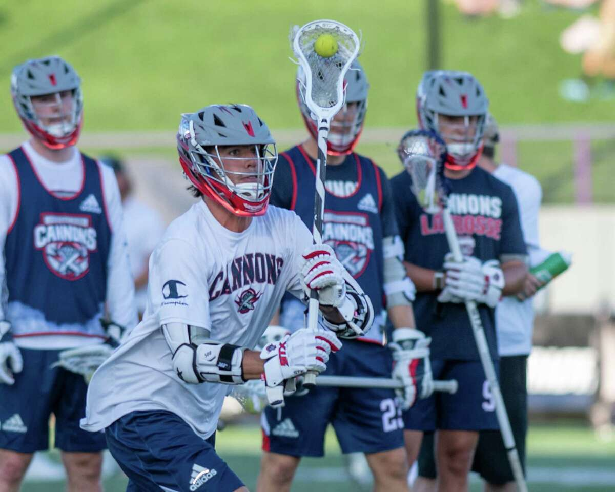 Stephen Rehfuss, of the Cannons, warms up prior to a Premiere Lacrosse League game against the Waterdogs at the UAlbany campus in Albany, NY, on Saturday, Aug. 14, 2021 (Jim Franco/Special to the Times Union)
