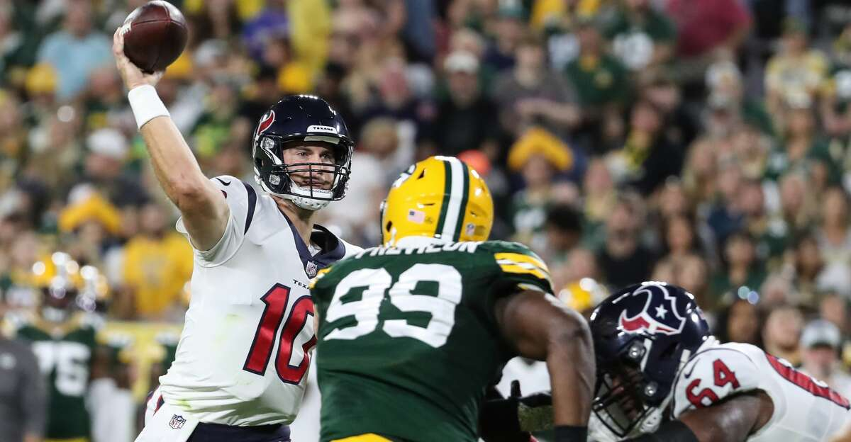 Houston Texans quarterback Davis Mills (10) passes against the Green Bay Packers during the second quarter of an NFL pre-season football game Saturday, Aug. 14, 2021, in Green Bay, Wis.