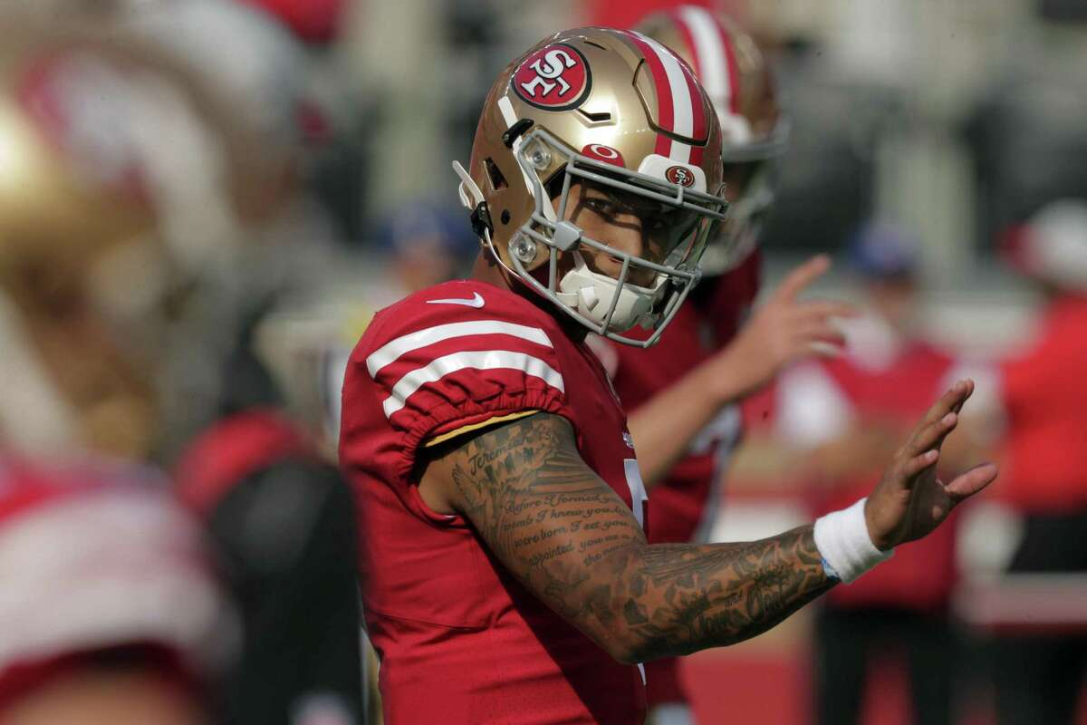 49ers rookie quarterback Trey Lance (5) during pregame warmups before the San Francisco 49ers played the Kansas City Chiefs at Levi's Stadium in Santa Clara, Calif., on Saturday, August 14, 2021.
