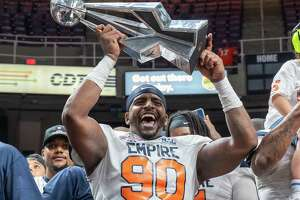 Albany Empire lineman Harold Brantley celebrates after winning the National Arena League championship game against the Columbus Lions at the Times Union Center in Albany NY, on Saturday, Aug. 14, 2021 (Jim Franco/Special to the Times Union)