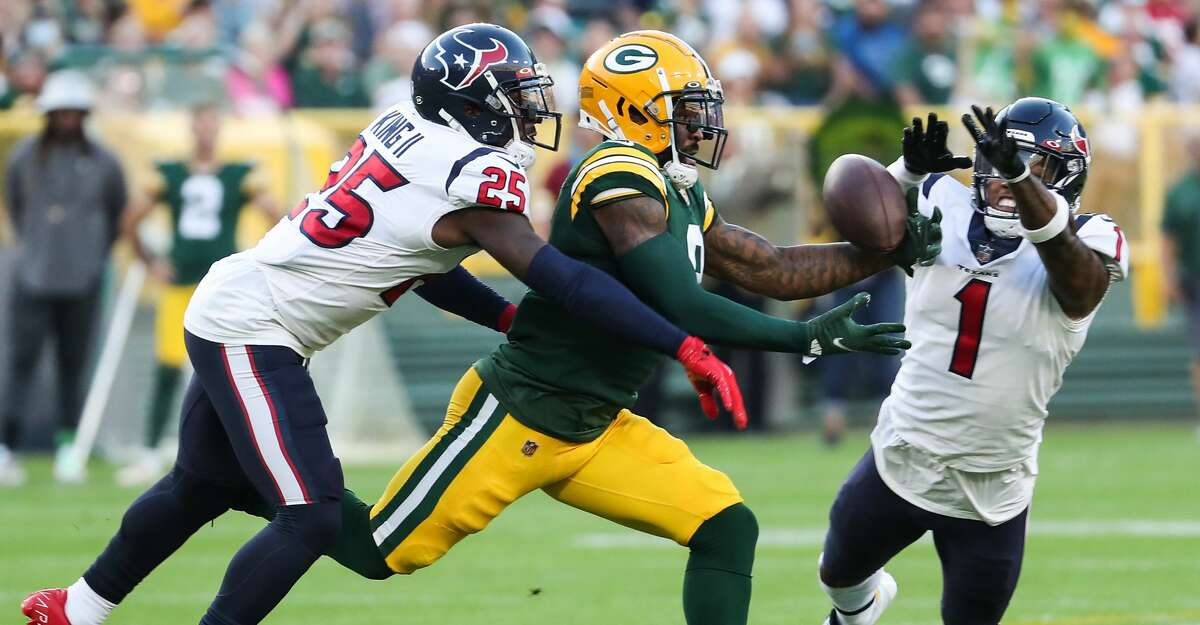 Lonnie Johnson (1) has turned in some impressive work in Texans training camp after converting to safety from cornerback.