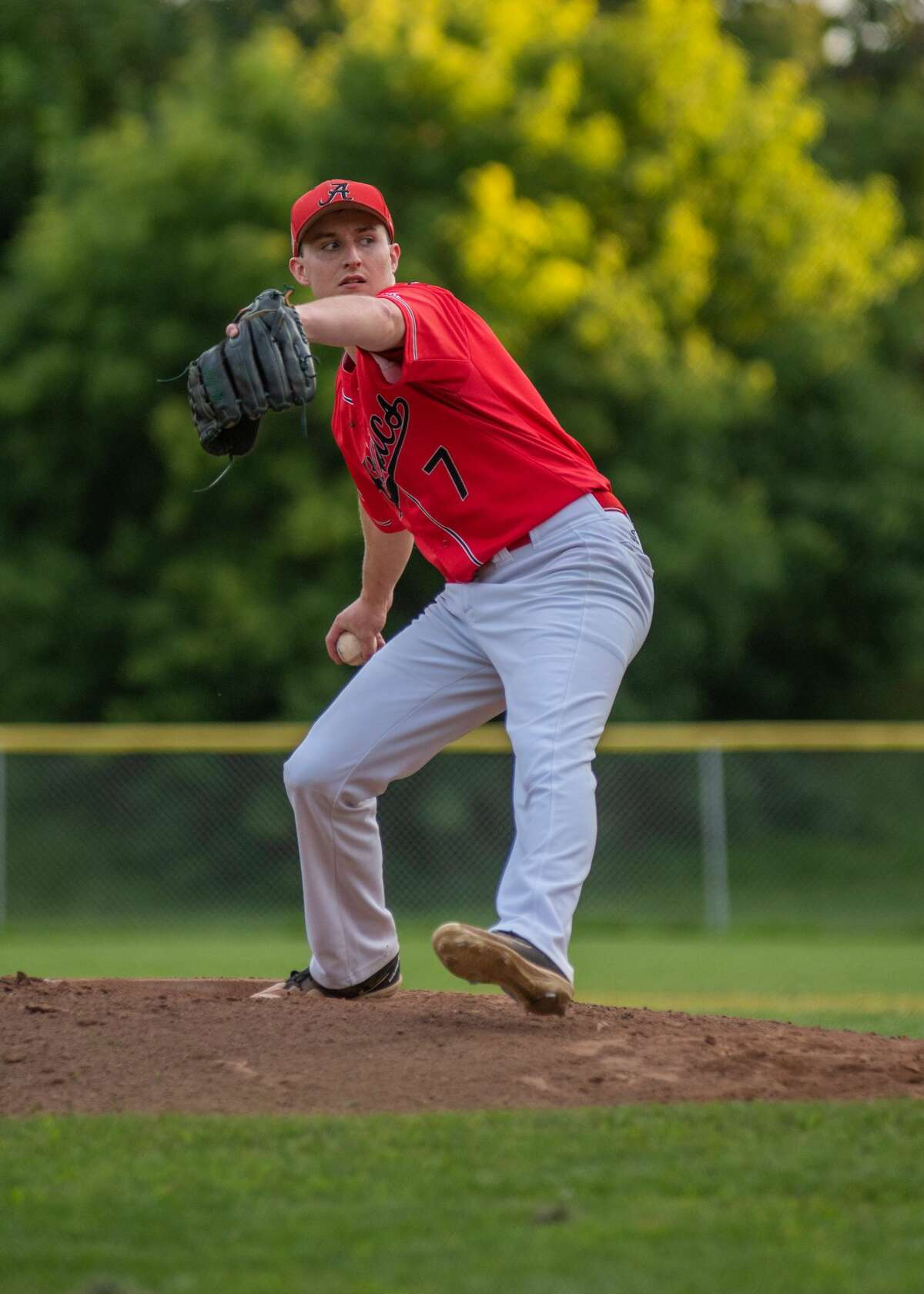 Ryan Lambert delievers a pitch for the Albany Athletics.