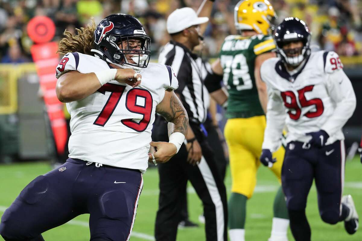 Rookie defensive tackle Roy Lopez (79) will get another opportunity to make a statement in his bid for playing time when the Texans play the Cowboys on Saturday.
