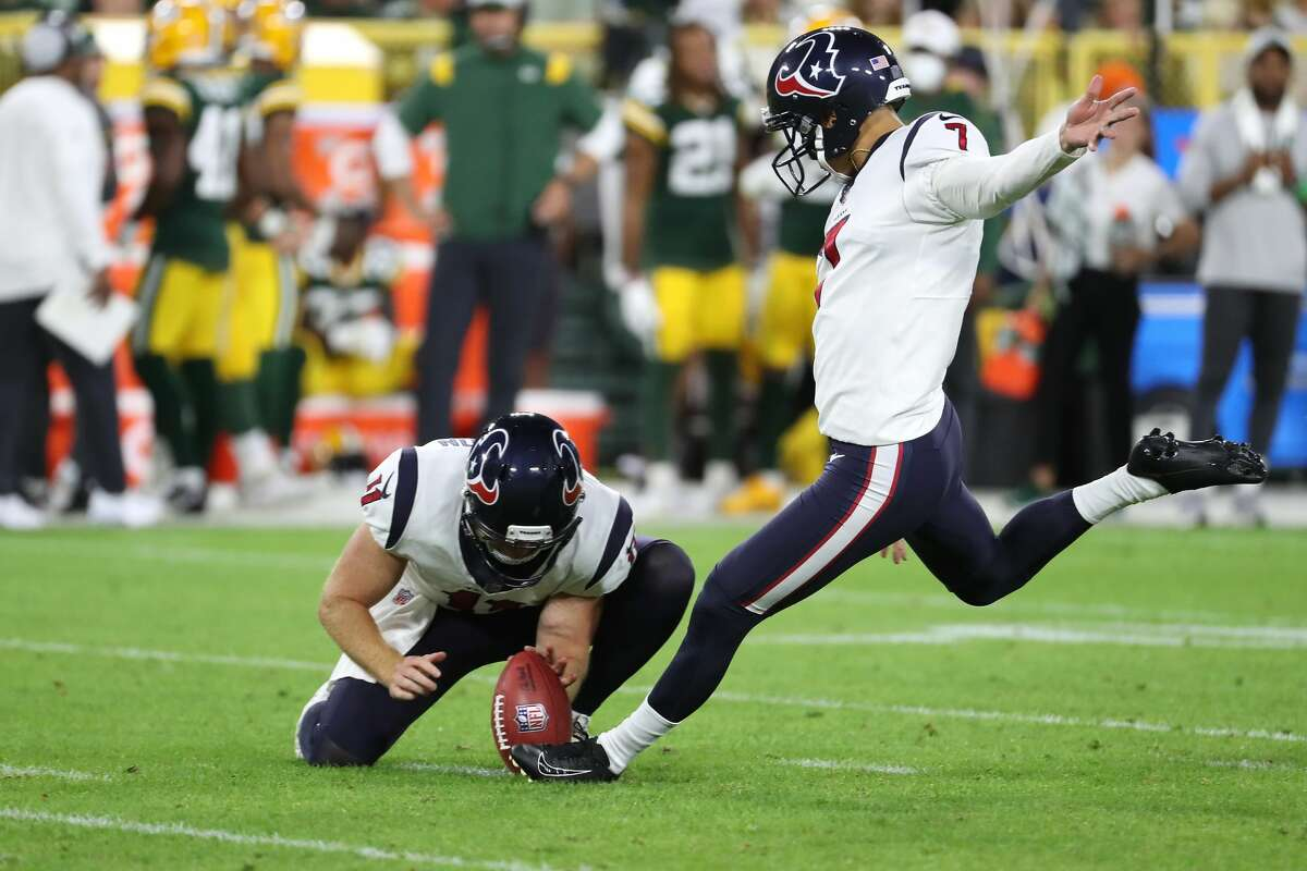 Houston Texans kicker Ka'imi Fairbairn (7) kicks a 42-yard field goal against the Green Bay Packers during the second half of an NFL pre-season football game Saturday, Aug. 14, 2021, in Green Bay, Wis.