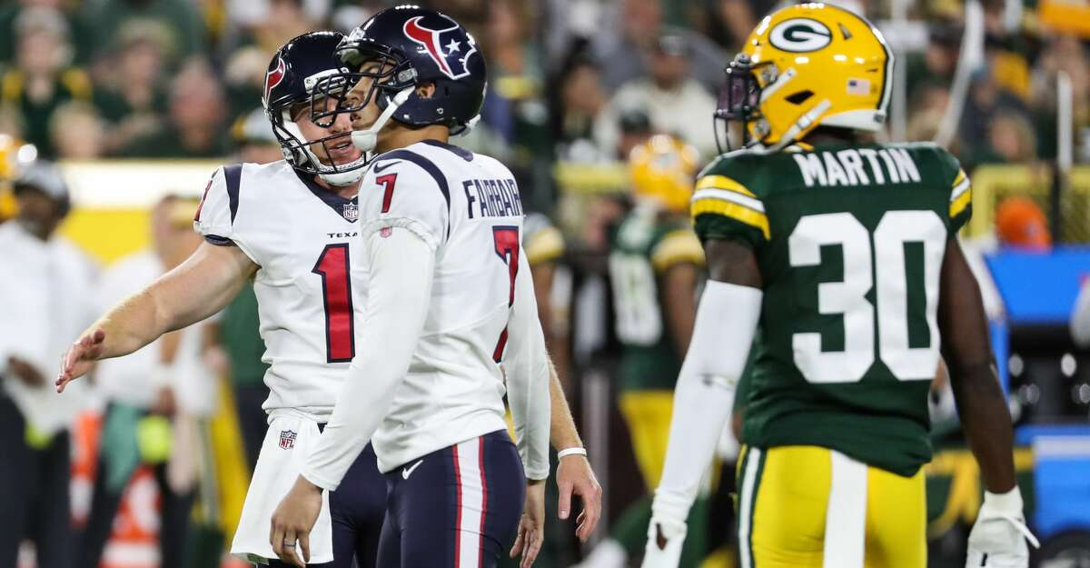 Houston Texans punter Cameron Johnston (11) and kicker Ka'imi Fairbairn (7) celebrate Fairbairn's 42-yard field goal against the Green Bay Packers during the second half of an NFL pre-season football game Saturday, Aug. 14, 2021, in Green Bay, Wis.