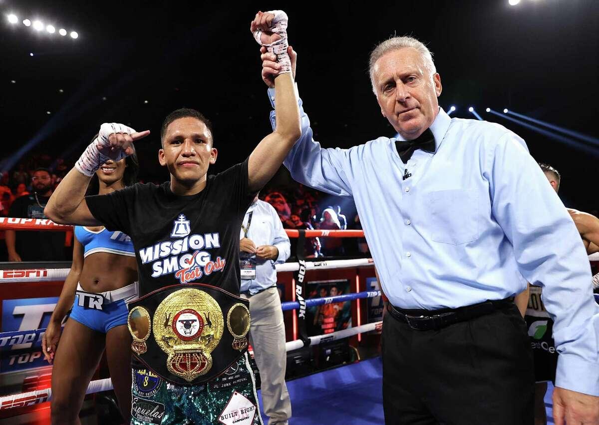 San Antonio's Joshua Franco celebrates his WBA super flyweight championship win over Andrew Moloney.