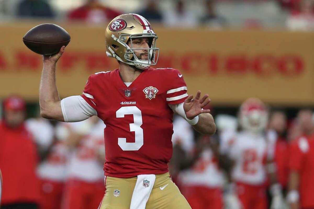 San Francisco 49ers quarterback Josh Rosen (3) passes against the Kansas City Chiefs during the second half of an NFL preseason football game in Santa Clara, Calif., Saturday, Aug. 14, 2021. (AP Photo/Jed Jacobsohn)