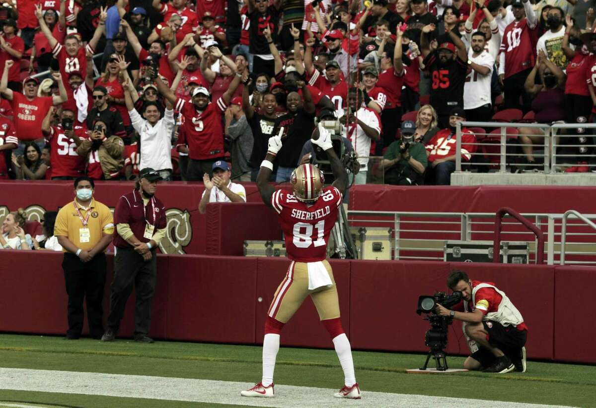 Trent Sherfield (81) reacts to fans cheering after his touchdown catch in the first half as the San Francisco 49ers played the Kansas City Chiefs at Levi's Stadium in Santa Clara, Calif., on Saturday, August 14, 2021.