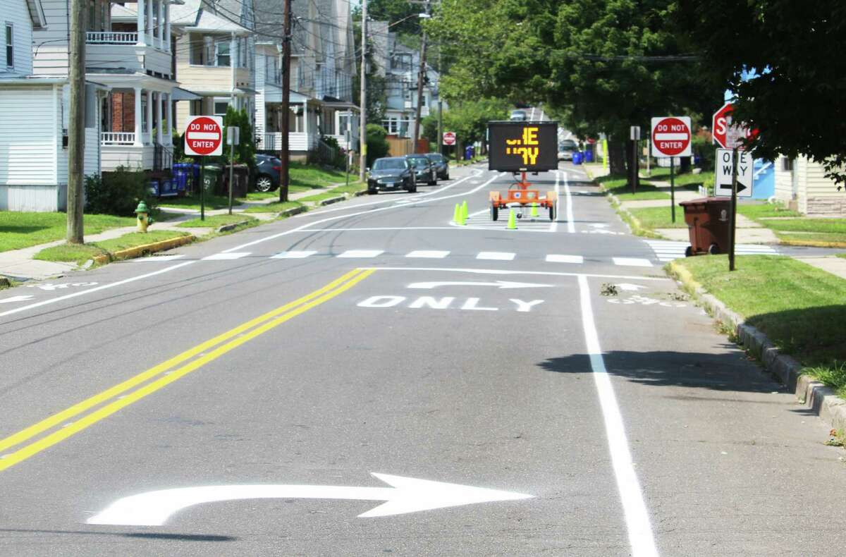 The street near Macdonough Elementary School in Middletown's North End now only ones one way to prevent motorists from speeding through the neighborhood.