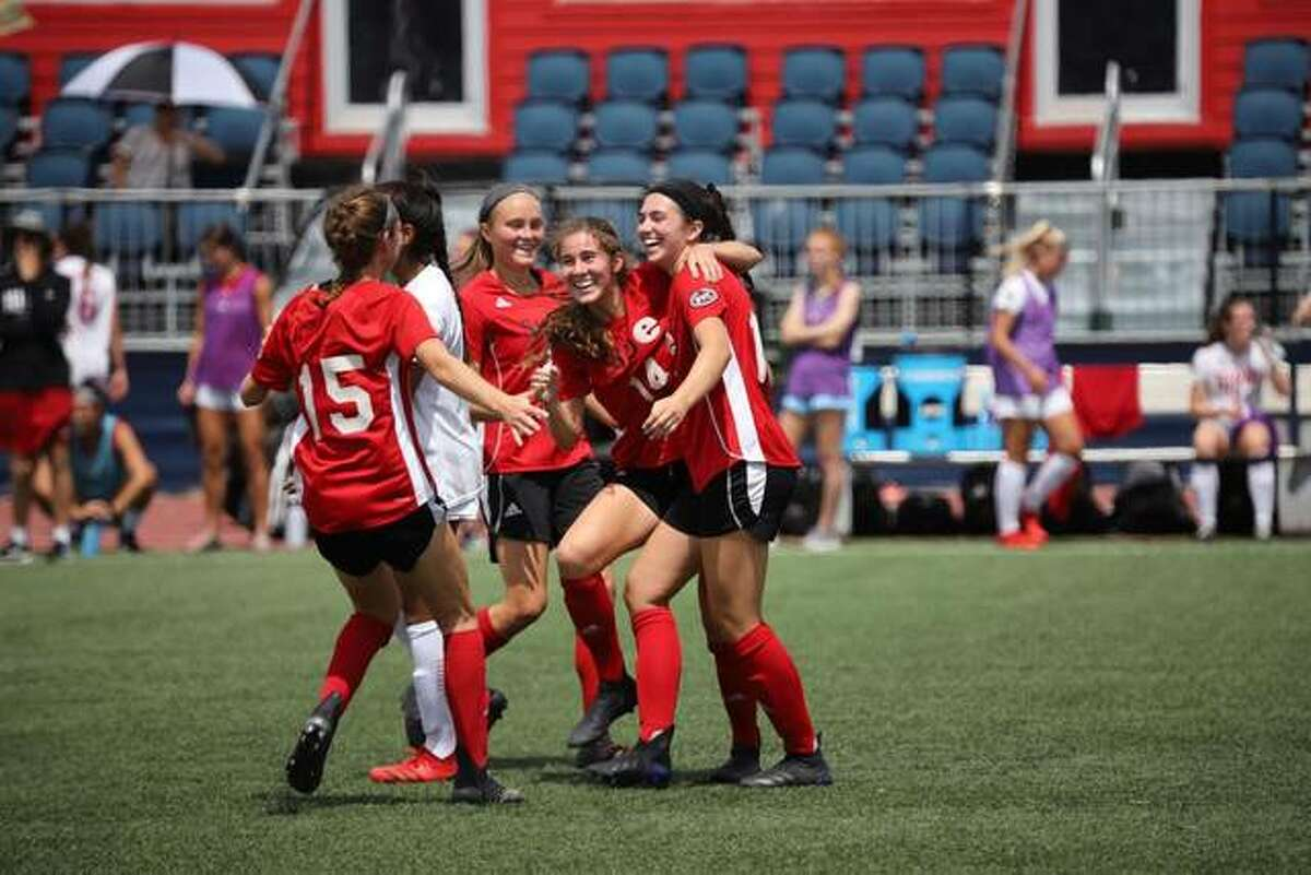 The SIUE women's soccer team celebrates a goal during its win over IUPUI on Saturday.