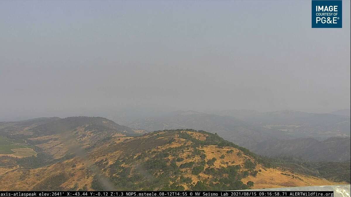 The view Sunday morning from the Alert Wildfire network's remote webcam on Atlas Peak in the Napa Valley.
