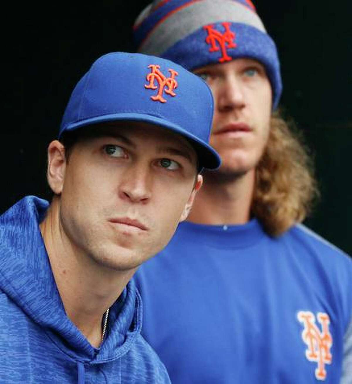 The Mets are without pitchers Jacob deGrom (left) and Noah Snydergaard.