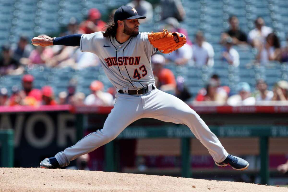Houston Astros starting pitcher Lance McCullers Jr. throws to a Los Angeles Angels batter during the first inning of a baseball game in Anaheim, Calif., Sunday, Aug. 15, 2021. (AP Photo/Alex Gallardo)
