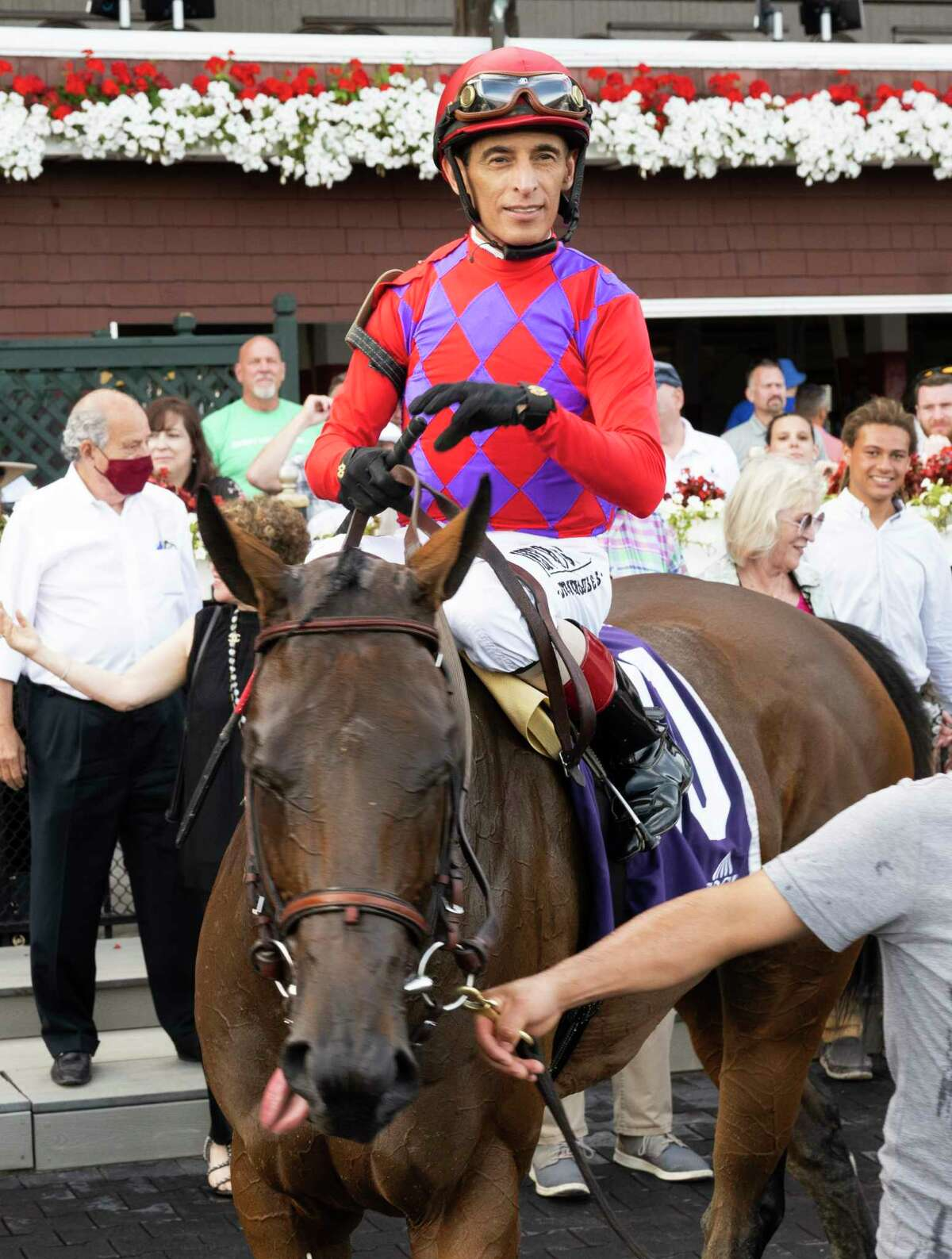 Jockey John Velazquez takes a turn in the winner?•s circle on Star Devine after winning the 2nd running of The Galway at the Saratoga Race Course Sunday Aug 15, 2021 in Saratoga Springs, N.Y. Photo Special to the Times Union by Skip Dickstein