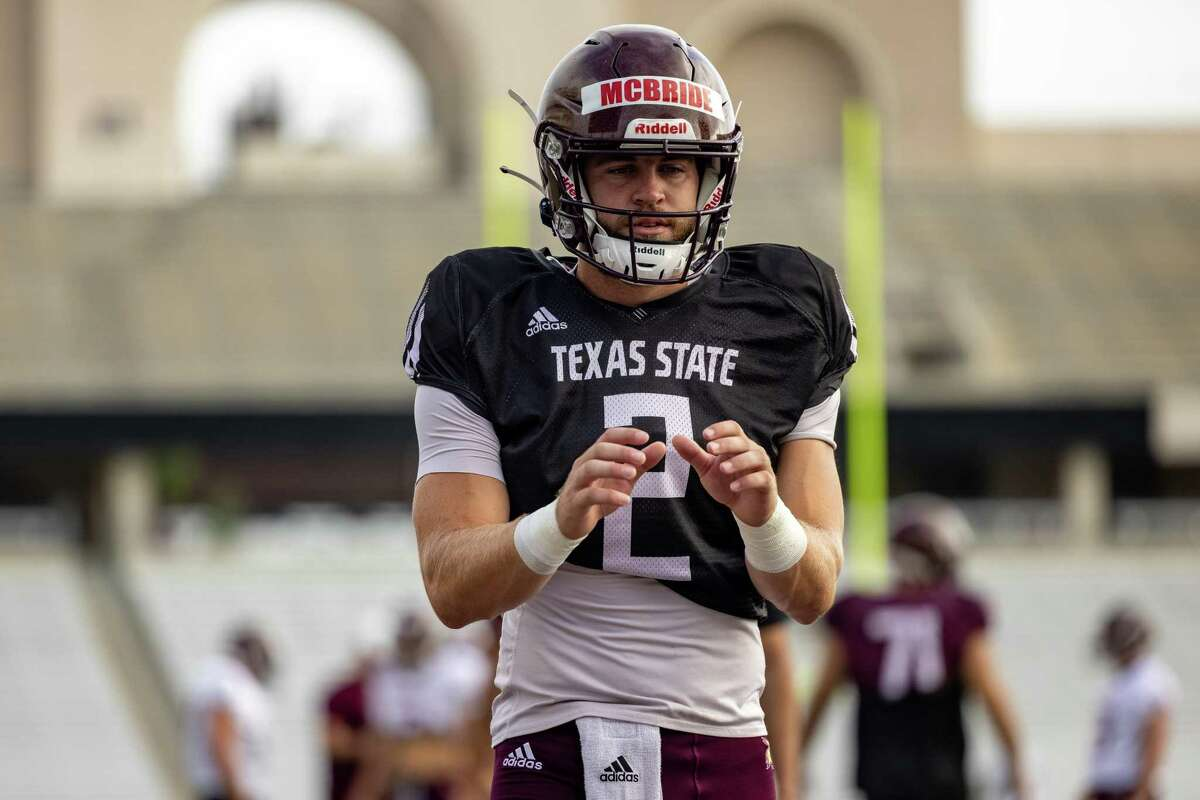 Texas State Quarterback Brady McBride warms up for an inter-squad scrimmage on Saturday, August 14, 2021, in San Marcos, TX. (Jordan Vonderhaar/Contributor)